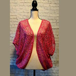LANE BRYANT Open Front Lace Pink Top 18/20
